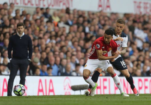 Jesse Lingard of Manchester United in action with Kieran Trippier of Tottenham Hotspur during the Premier League match between Mancheser United and...