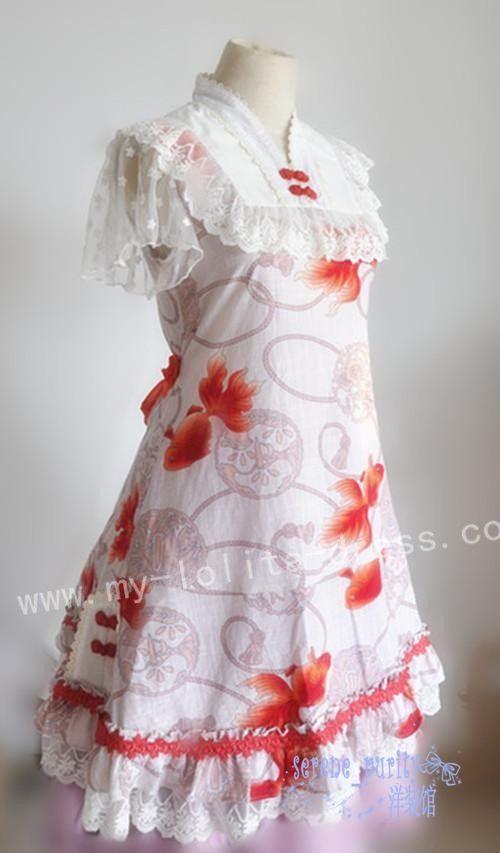 Sweet Gold Fish Prints Wa Lolita Bloomer/OP Dress $45.99-Cotton Lolita Dresses - My Lolita Dress