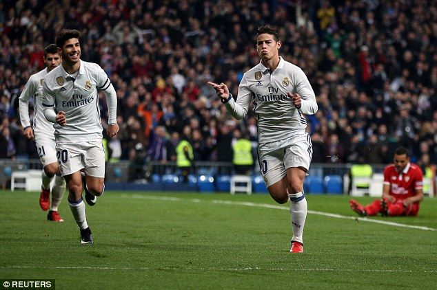 James Rodriguez celebrates scoring Real Madrid's first goal in Copa del Rey clash with Sevilla