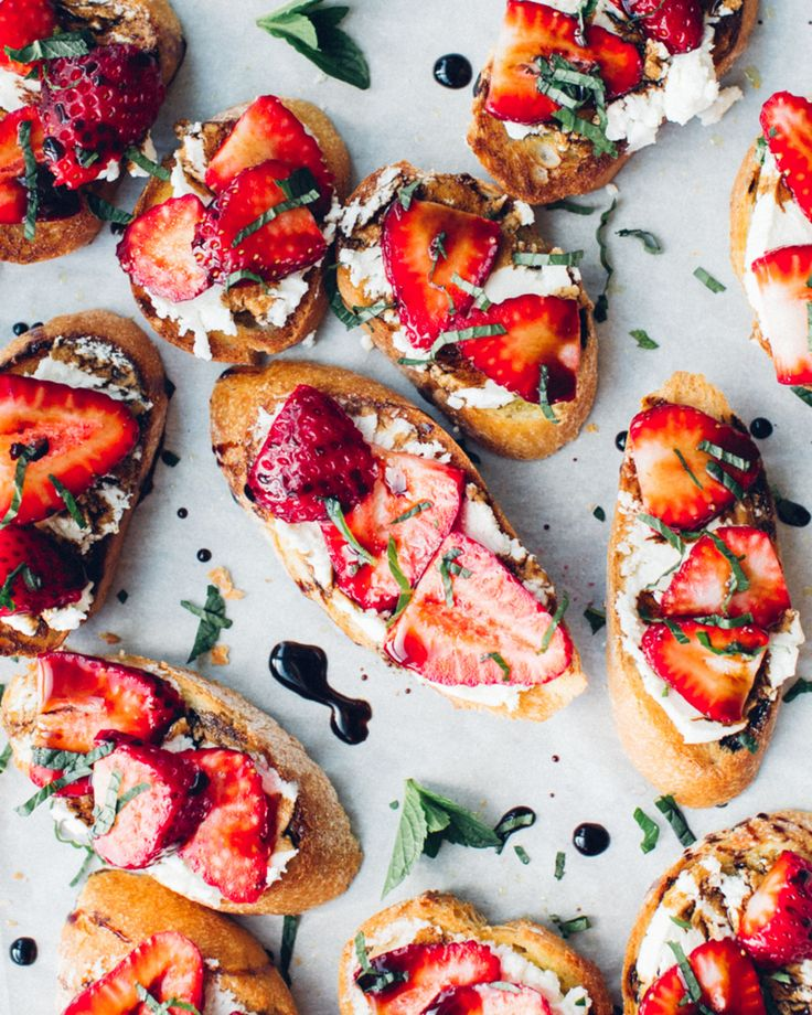 A delicious, sweet and savoury summer appetizer with goat cheese, strawberries, balsamic reduction (make your own!) and torn mint.