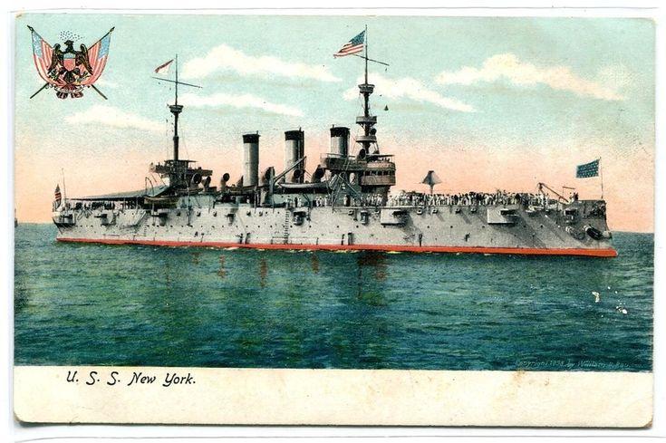 USS New York US Navy Ship Battleship 1907c postcard