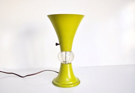 vintage lime green table lamp metal and glass by thewhitepepper 120. Black Bedroom Furniture Sets. Home Design Ideas