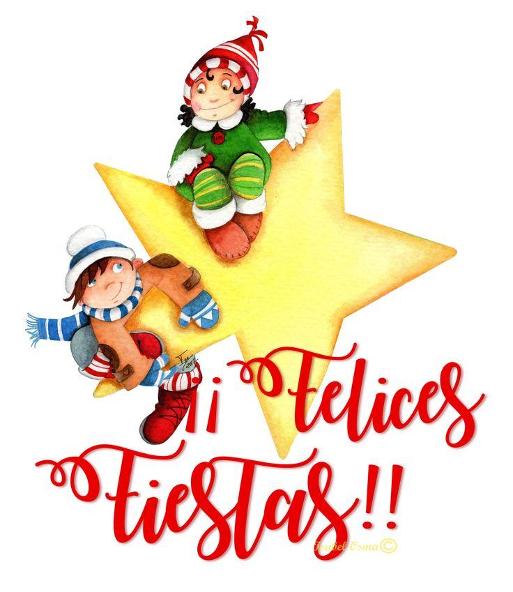 Ilustración de Isabel Osma en acuarela ,felicitación Navidad y Año Nuevo 2018