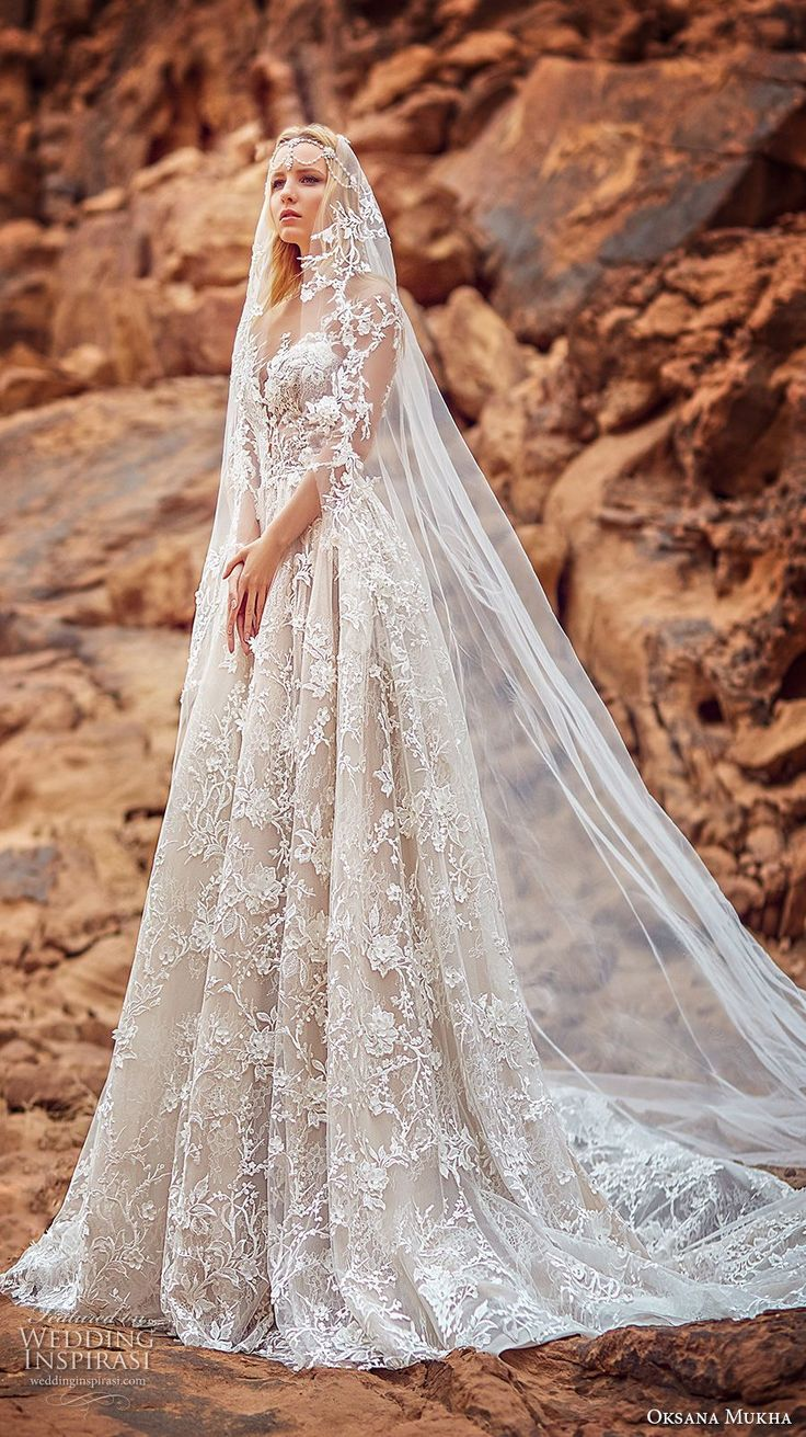 oksana mukha 2018 bridal three quarter sleeves sweetheart neckline full embellishment princess a line wedding dress with pockets open back royal train (lilana) mv