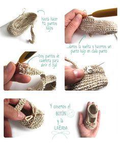 Cómo hacer unos patucos de crochet tipo merceditas para Bebé                                                                                                                                                                                 Más
