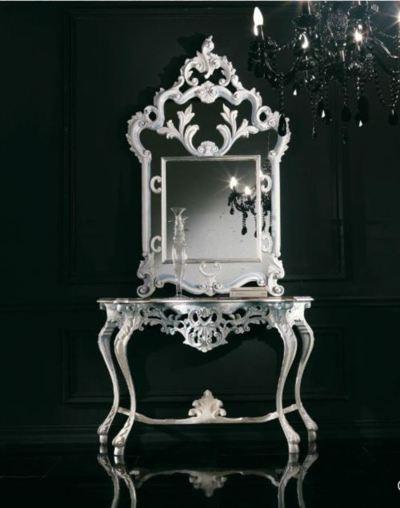 Silver Neo Baroque Table Mirror