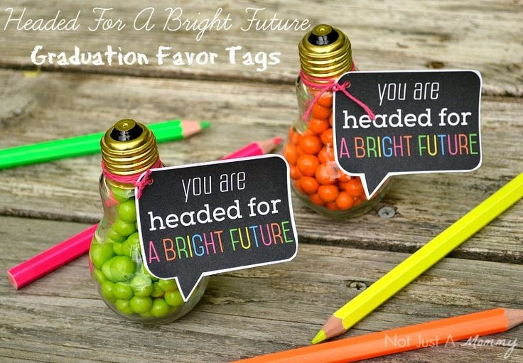 Free Headed For A Bright Future neon graduation party favor tags