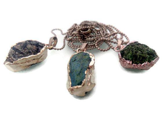 Natural Variscite Slice Necklace Silver Electroplated by FIGENTAKI