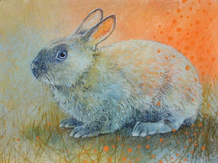 Konijn - Loes Botman pastels, pastelkrijt tekeningen