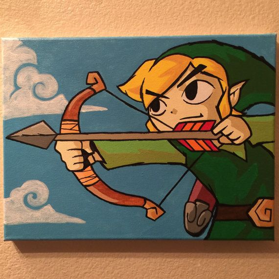 Link 9inX12in Canvas Painting Legend of Zelda by Nerdfest on Etsy