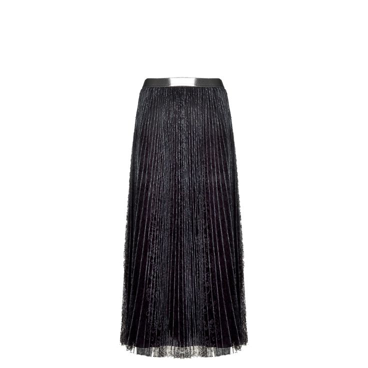 Naughty Dog #FW1415 long #skirt with laminated pliss effect; elastic on the waist.