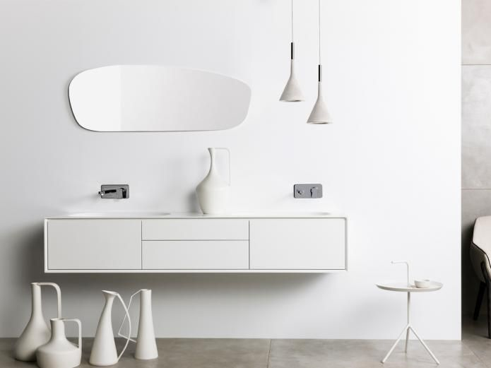 ISSY Glide 1750 Wall Hung Vanity with double solid surface basin. Reece $3889.99