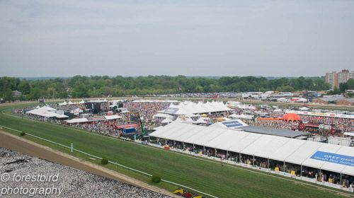 Roof view of the Preakness Stakes 2015, Pimlico  race course. Infield and Infield Village