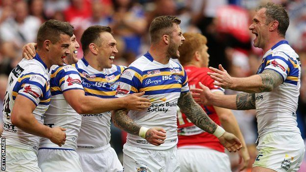 Fantastic Leeds victory ~ wins Challenge Cup final. Hull KR 0-50 Leeds Rhinos (Rugby League). Records broken in this fantastic game at Wembley stadium London.