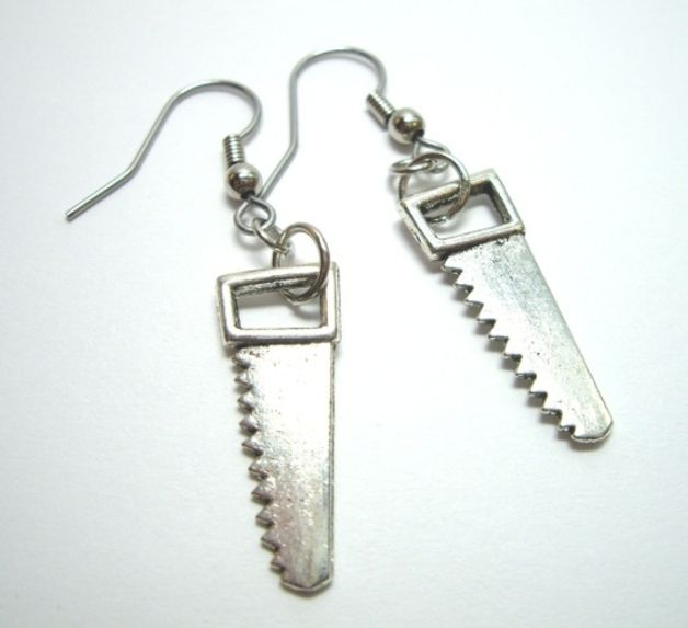 Silver Plated Earrings – Saw Silver Charms Metal Earrings – a unique product by wtf-gifts on DaWanda