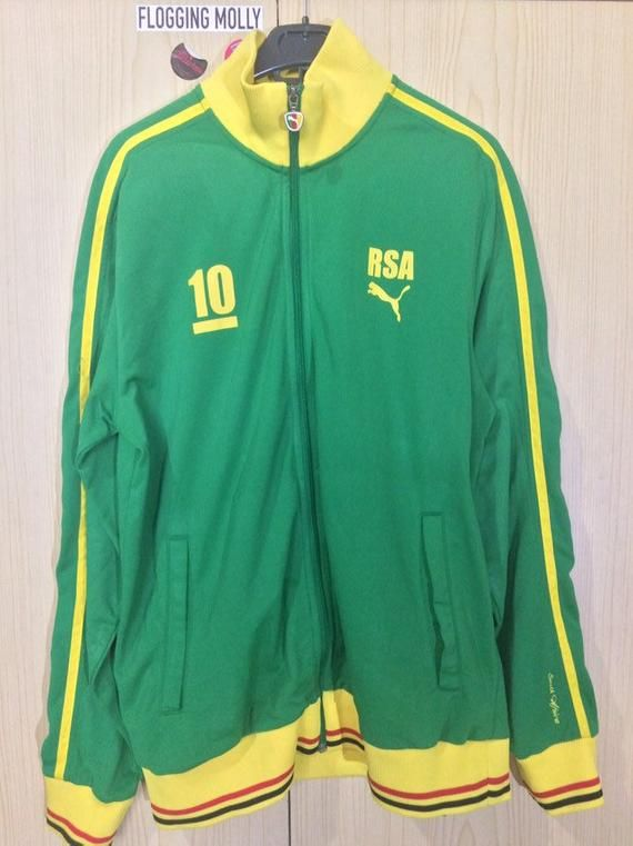 7487d0a24f4 L Vintage PUMA South Africa football Retro track suit tracksuit top ...