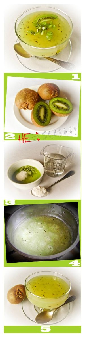 Экзотический десерт за 15 минут - кисель из киви. Охладите и получайте удовольствие :-)