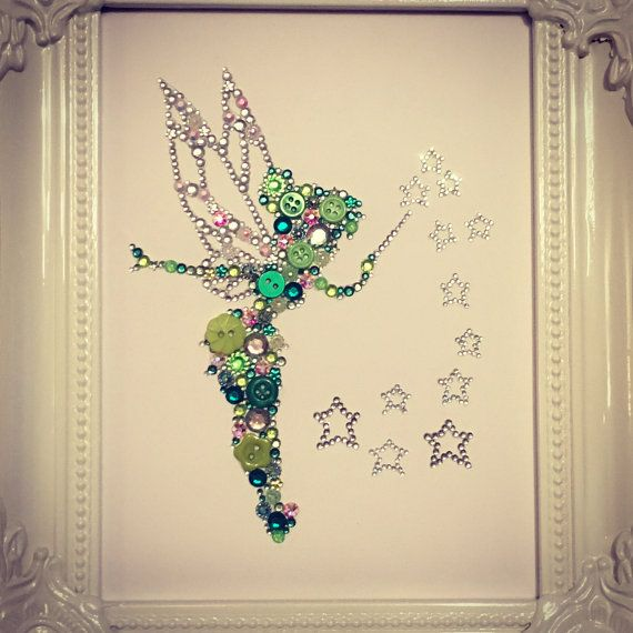 Tinkerbell decoration, tinkerbell button and Swarovski crystal framed art. Button art. Button frame. Disney. Personalised gifts. 💚 Tinkerbell is created using high quality buttons, rhinestones and genuine Swarovski crystals. Each piece is made with love and to a high standard. Im