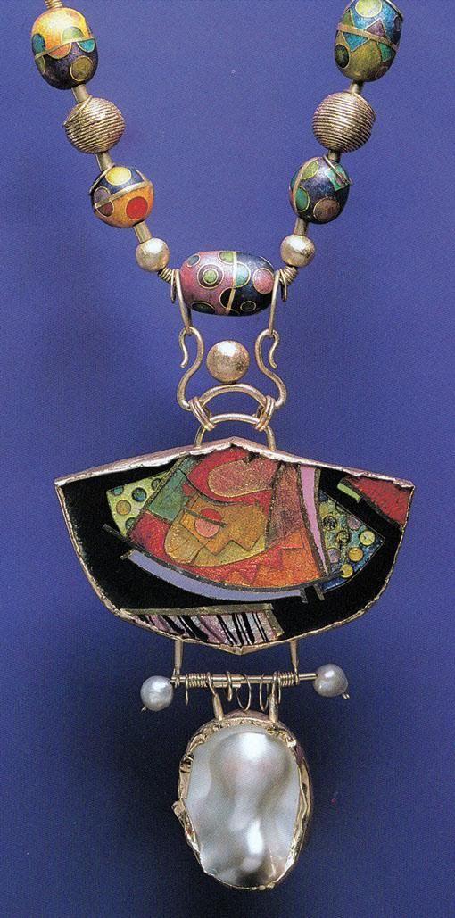william harper TATTOO KABUKI 1981 Gold cloisonne' enamel on copper, fine silver, and fine gold; 14 kt gold; sterling silver; pearls