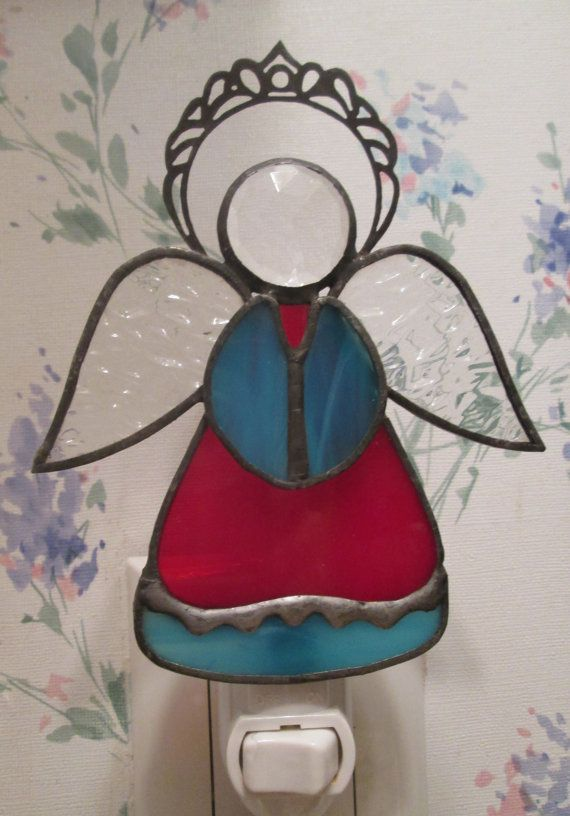 Angel Night Light in Stained Glass Red & by CustomStainedGlassNC