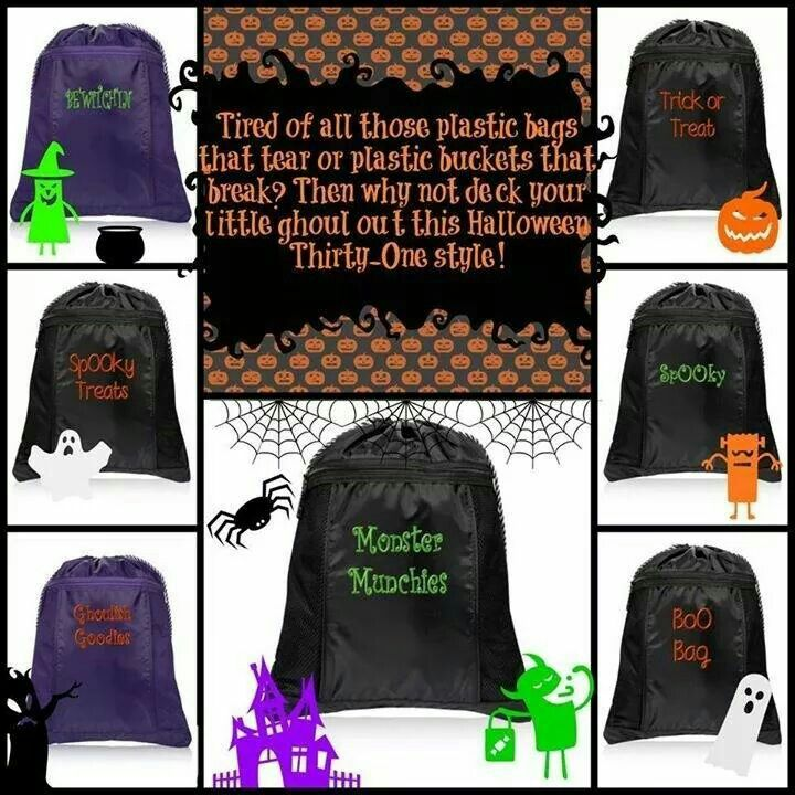 Thirty One Halloween bags! Check out these cinch sacks at my website! Www.mythirtyone.com/LKaufman