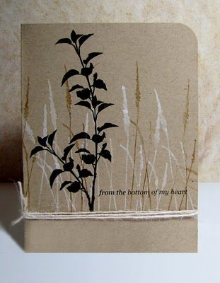 By Karen B. Mask the bottom of a kraft paper cardstock panel. Stamp grasses in white, then in brown. Stamp the main image in black. Remove the mask. Stamp the sentiment either on top of the grasses or at the bottom where you had the mask. Add twine. Adhere panel to card front with foam squares. Karen made a one-layer card, but I don't want the twine to show inside the card, so I'd use popped up panel.