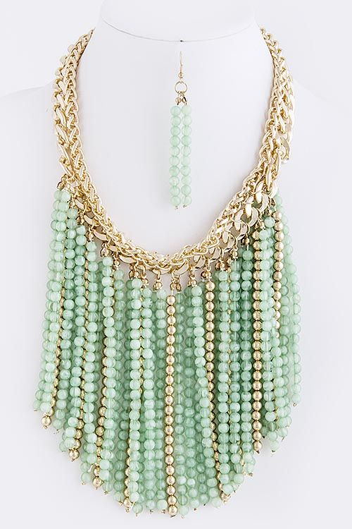 BEAD FRINGE NECKLACE ...Mint & Gold