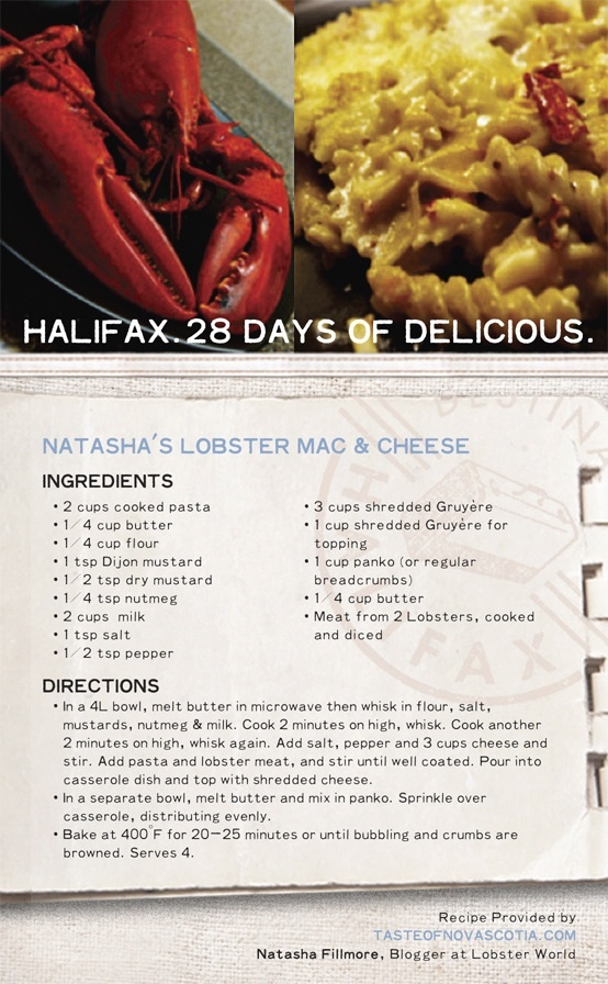 Mac & Cheese is true comfort food, and the addition of fresh #NovaScotia #lobster takes this dish to the next level. This Maritime #recipe combines traditional ingredients with #Halifax flavour, ensuring you crave seconds and thirds. #28daysofdelicious