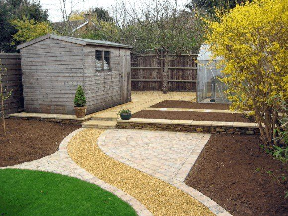 Modern Garden Paths, Patio Pergola & Recycled Stone Walls