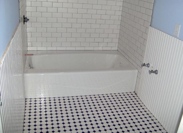daltile octagon u0026 with blue dot rittenhouse square subway tile on tub surround via - Daltile Subway Tile