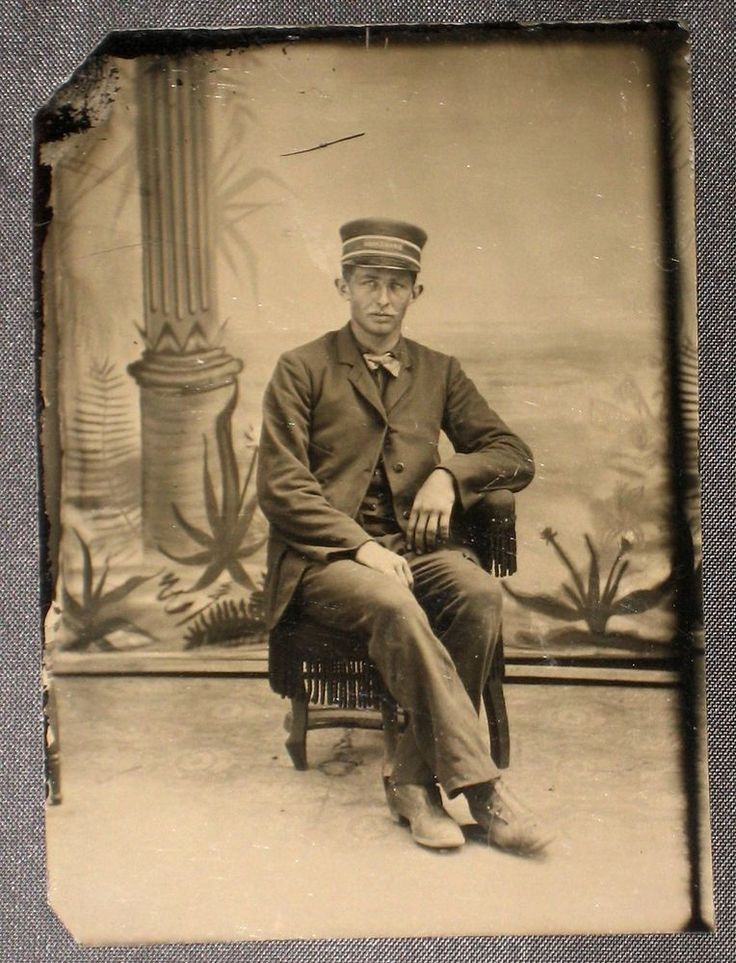 Antique Tintype Photo Occupational Railroad Worker Nice
