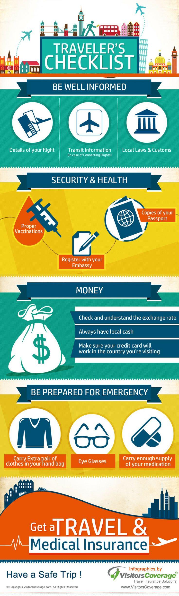 Traveler's Checklist   #infographic #Travel #Checklist #TravelHacks