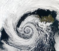 An extratropical cyclone over Iceland shows an approximately logarithmic spiral pattern