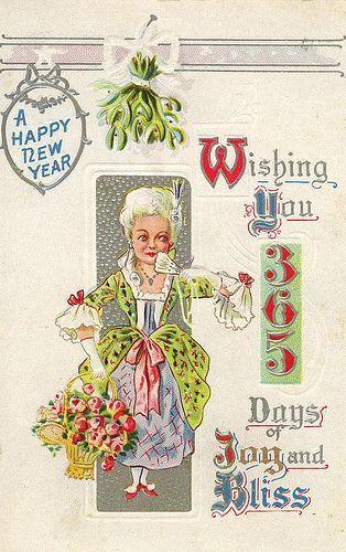 vintagepostcard.quenalbertini2: New Year Card | flickr.com/photos/suzee_que/4219209613/