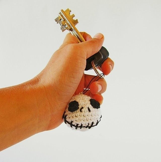 Halloween Jack Skellington Keychain designed by Little things blogged. Free pattern