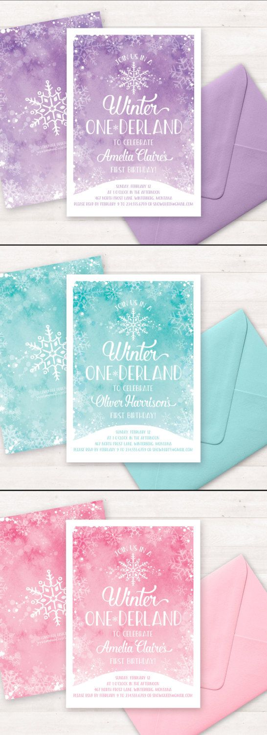Best Winter Onederland Invitations Ideas On Pinterest Girl - 1st birthday invitations girl purple