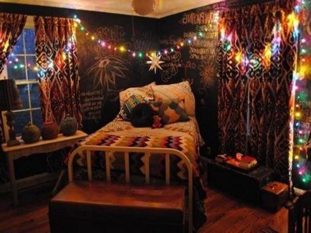 Bedroom, Hippie Chic Bedroom Ideas Wall Mounted Beige Square Low Profile Bed Wall Mounted Rectangle Navy Headboard Red Line Pattern Quilt Black Wood Bunk Bed Exposed Stone Wall: Charming Hippie  Bedroom Decorating Ideas