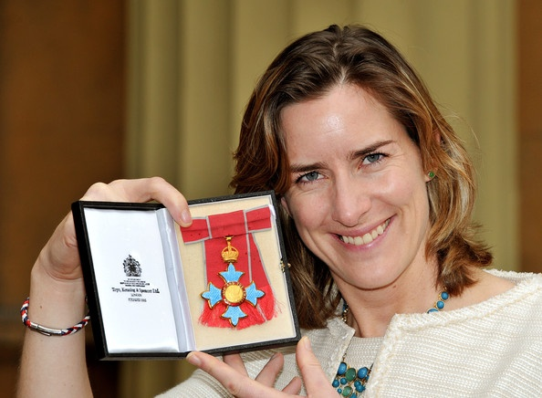 "Olympic gold medalist Katherine Grainger (5ft 11.5"") proudly holds her CBE award recieved at Buckingham Palace on 7th March 2013"