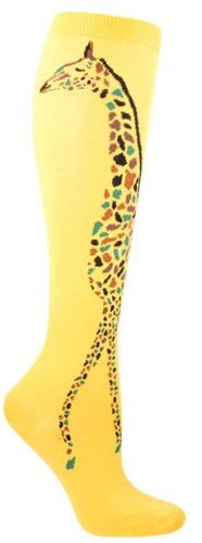 A peaceful giraffe wraps around the side of these knee high socks, available in Sundrop Yellow or Black.  Fits women's shoe size 5-10.