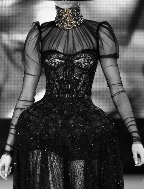Sculptural Fashion - black dress with exaggerated silhouette; dark romantic fashion // Alexander McQueen Spring 2013 Correct Link Credit: http://sexual-couture.tumblr.com/post/32820427237