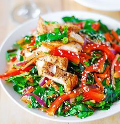 Asian Chicken Salad With Ginger Sesame Dressing Recipe | Yummly