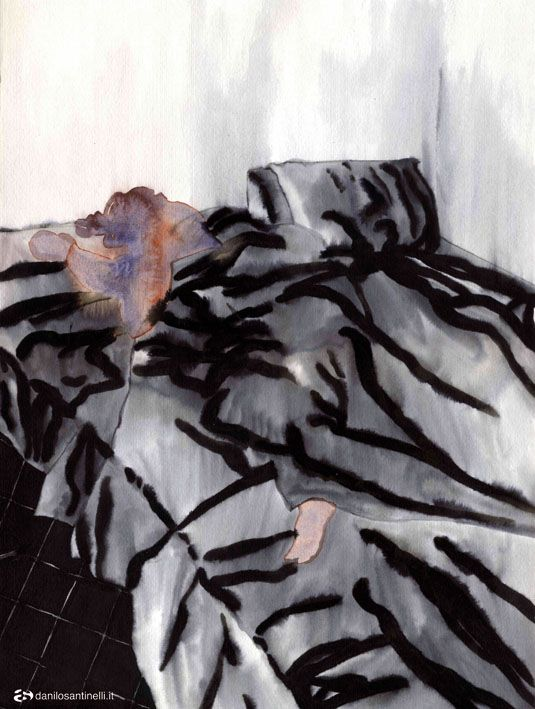 "Danilo Santinelli ""Federica while sleeping"" acrylic and ink on paper 29.5x40cm"