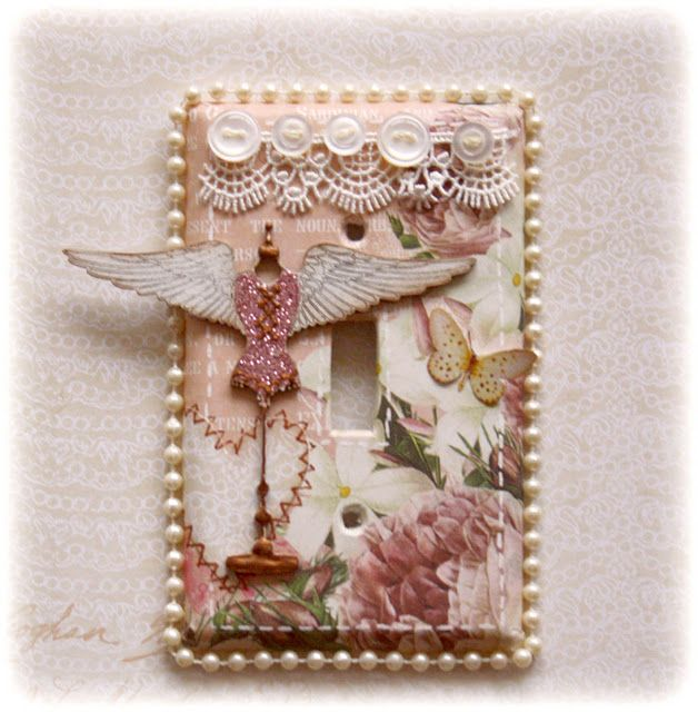 Light Switch Cover (Home Decor) by Gabrielle Pollacco (Websters Pages Western Romance and Dusty Attic Divine Diva).  click on photo for directions