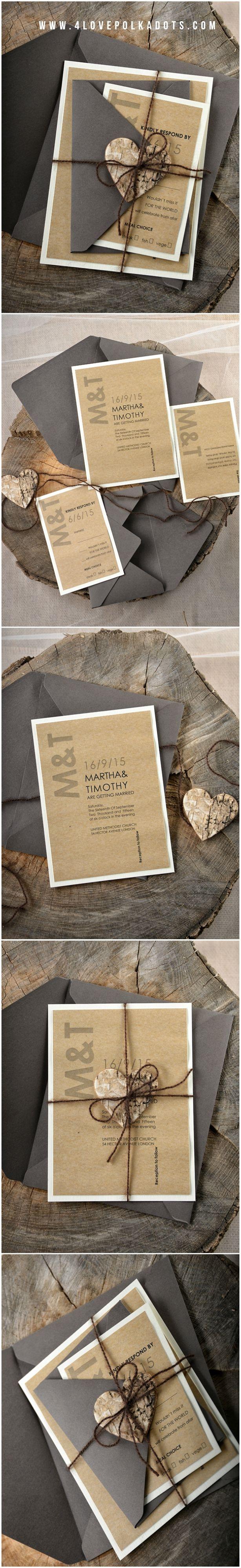 Eco Kraft Black U0026 Brown Calligraphy Wedding Invitations With Birch Bark  Wooden Heart Tag #modern