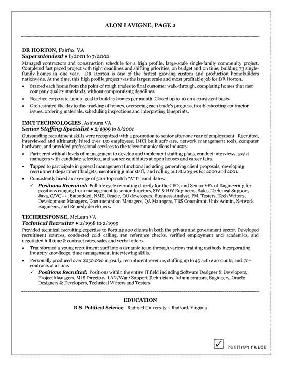 Technical IT Recruiter Resume Example