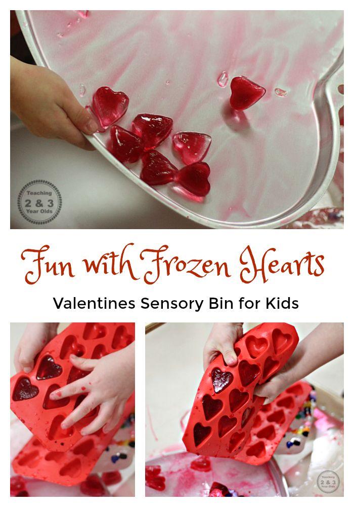Preschool and Toddler Valentines Sensory Bin with Frozen Hearts