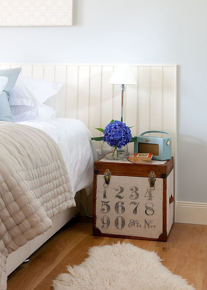 Cute little trunk doubles as nightstand  ---  Unique Nightstands For Some Bedside Brilliance