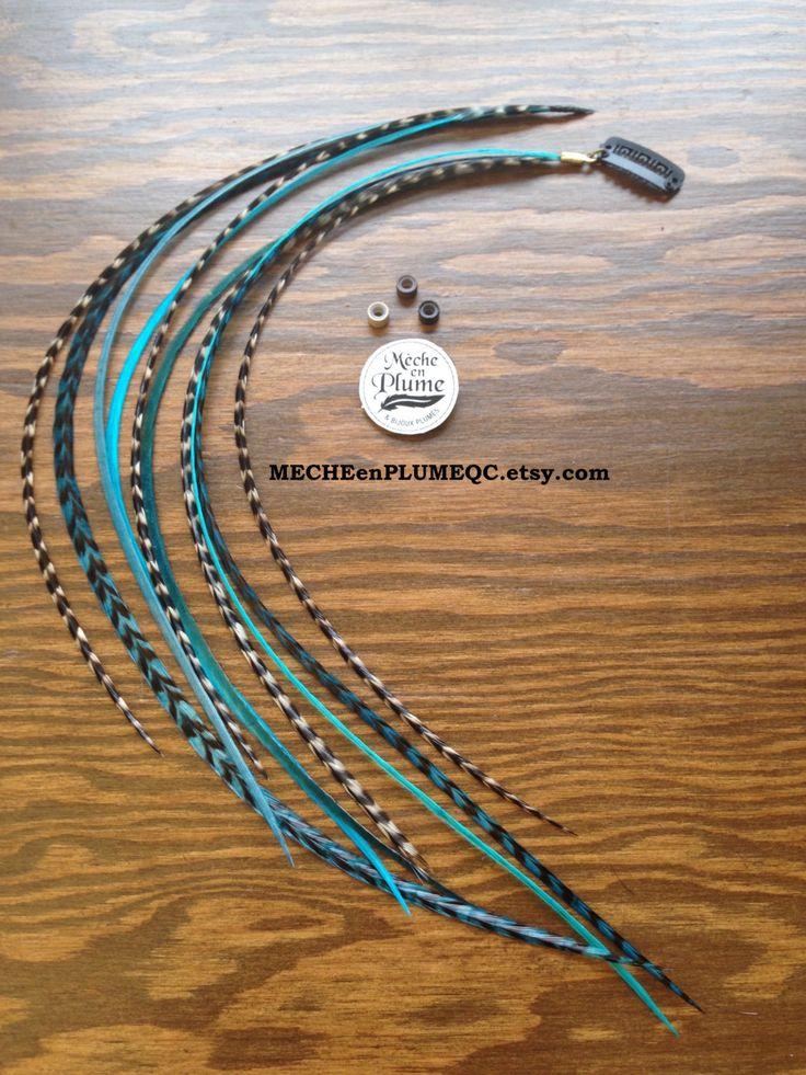 Extension Plumes Turquoise /Cheveux /Bijoux /Mèche Lagon bleu de la boutique MECHEenPLUMEQC sur Etsy