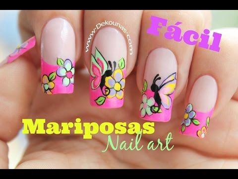 Decoración de uñas FACIL de mariposas - Easy Butterfly nail art - YouTube