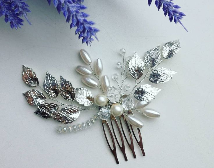 Crystal comb  wedding hair accessories wedding comb hair ornament comb jewelry for hair Petals Leaves Silver Petals Silver Leaves by Jewelryforhair on Etsy
